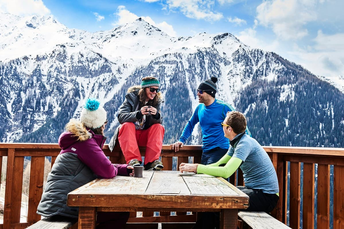 Skiers in a mountain restaurant