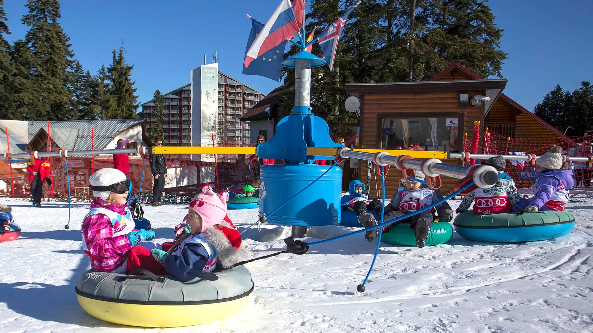 Kids' carousel ride in Borovets