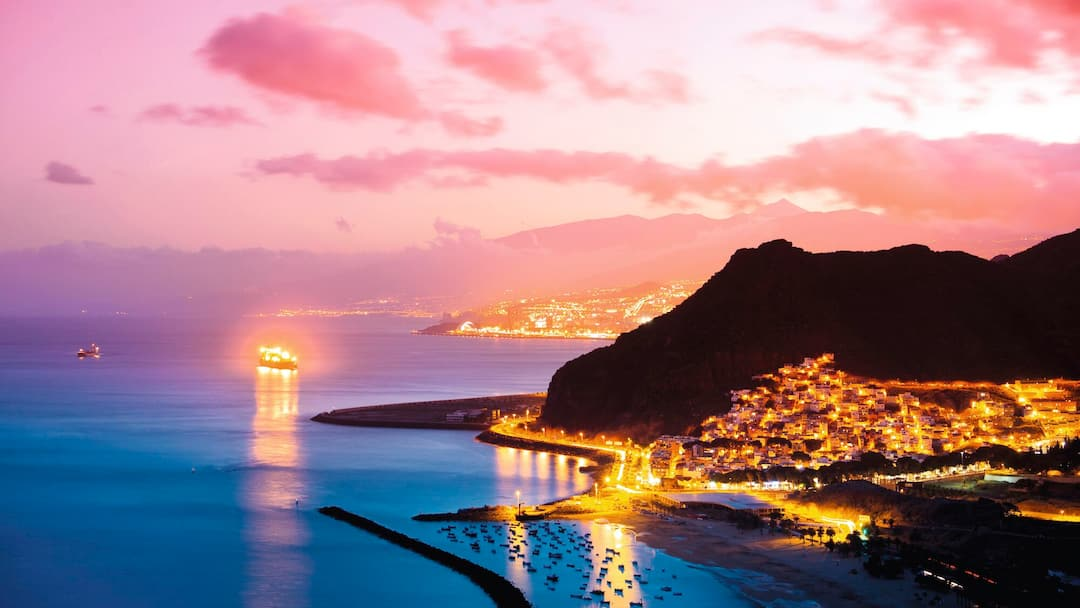 Tenerife coast at night