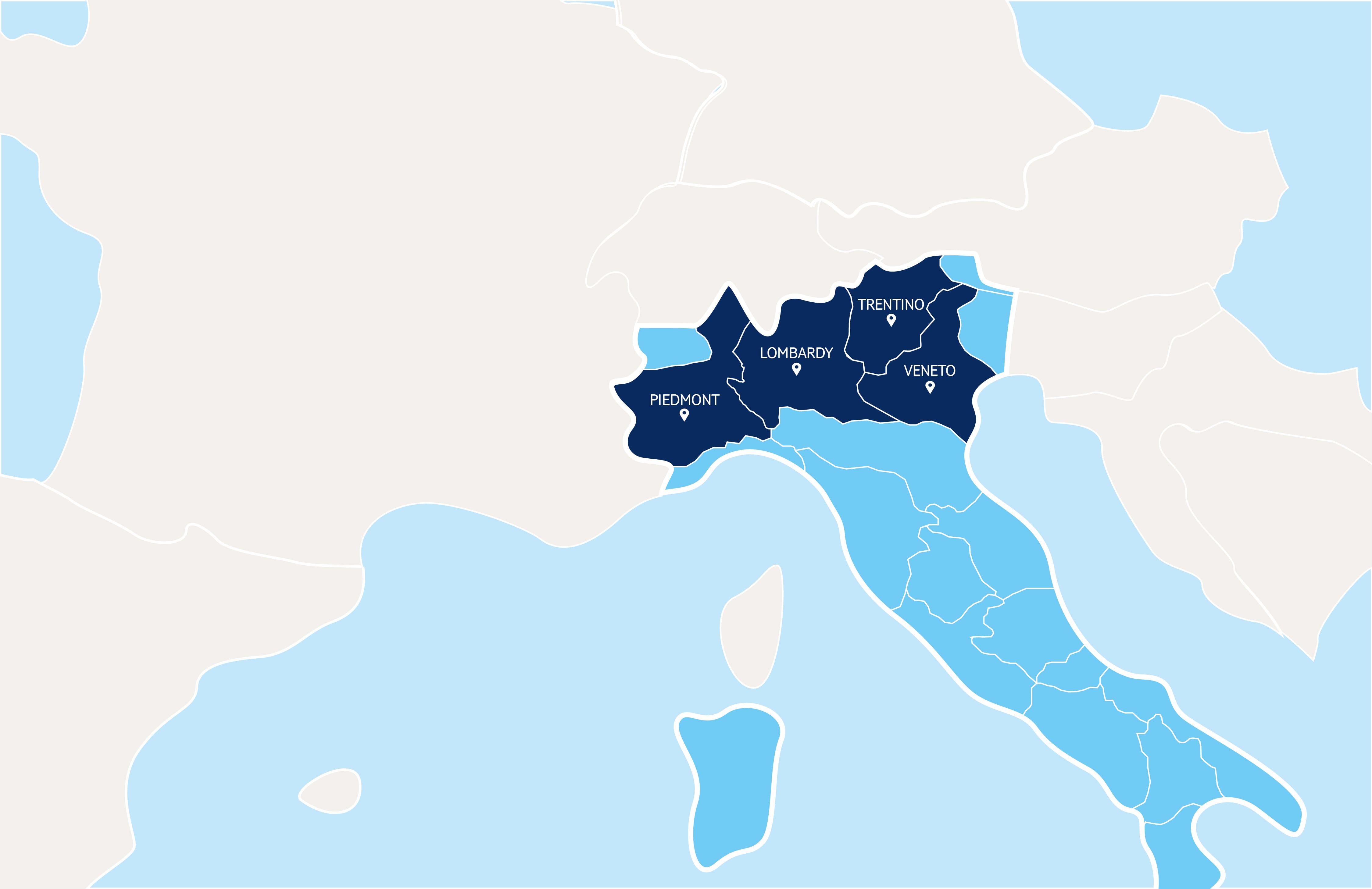 Italy wine map
