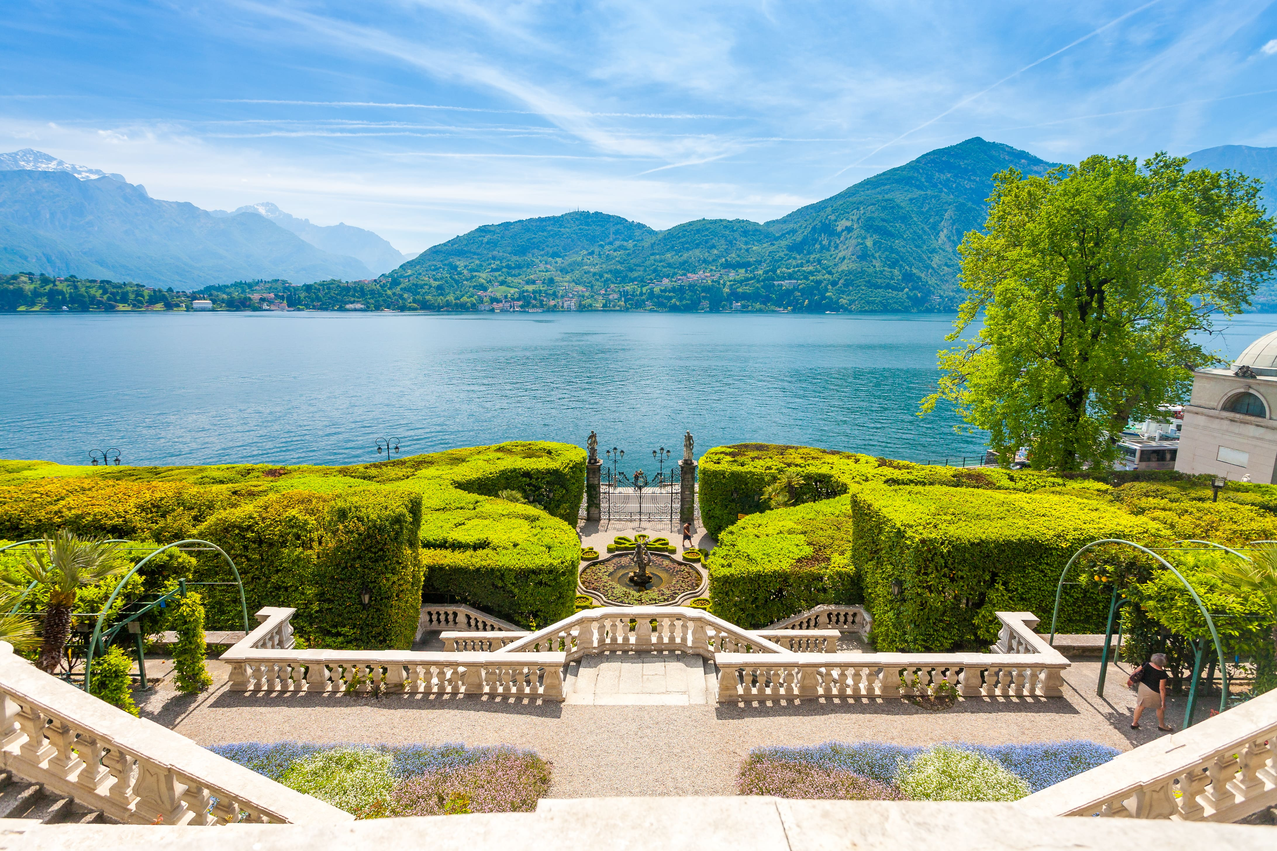 Villa Carlotta gardens and view over Lake Como