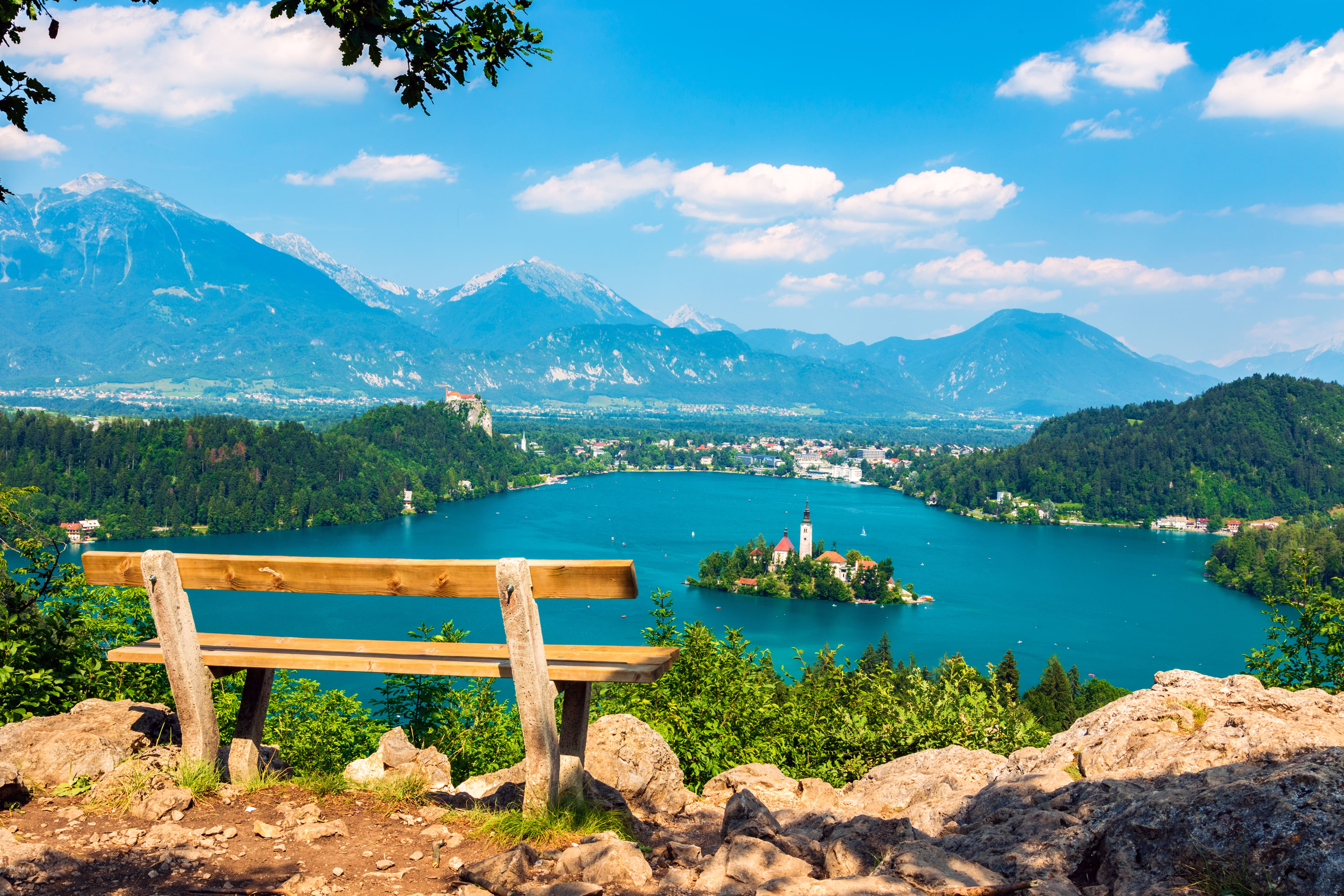 Ojstrica viewpoint above Lake Bled in Slovenia