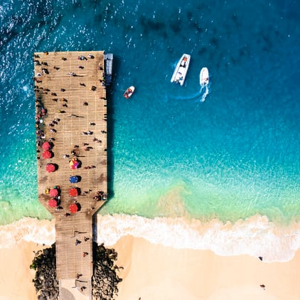 Aerial view of beach and jetty